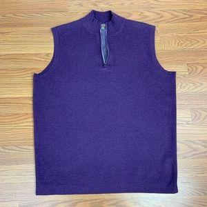 Peter Millar Men's Dark Purple Zip-Up Vest - Sz M